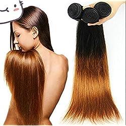 Wigsforyou@Human Hair Peruvian Ombre Straight Virgin Hair 1pcs Lot 50g/pc Total 50g 1b/30 Two Tone Human Hair Bundles 8-28inch Mixed Length Good Quality