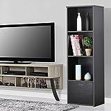 New Black Modern 3 Tier Corner Stand Shelf with 1 Cupboard Drawer Display ...