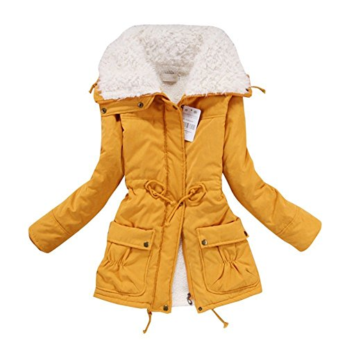 Aro Lora Women's Winter Warm Faux Lamb Wool Coat Parka Cotton Outwear Jacket US Medium Yellow