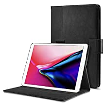 Spigen Stand Folio iPad Pro 10.5 Case, iPad Pro 10.5 2017 Case, Multi-Functional Premium Leather Stand with Pocket Hand strap with Auto Sleep and Wake Function for Apple iPad Pro 10.5 Inch 2017 - Black