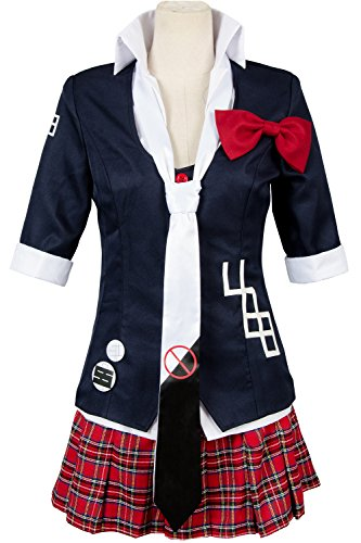 Women;s Jacket Coat Tie Top Skirt Unfirom Junko Enoshima Cosplay Costume (Black, Women:XX-Large) -