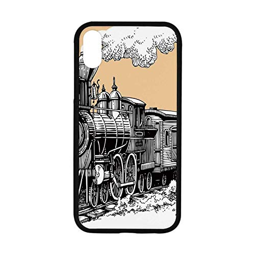 Steam Engine Rubber Phone Case,Vintage Wooden Train Rail Wild West Wagon in Countryside Drawing Effect Artsy Compatible with iPhone XR