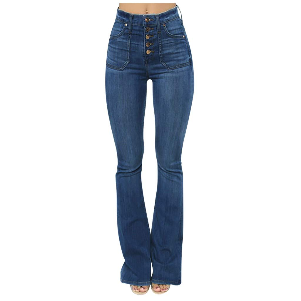 Jeans for Women High Waist Skinny Stretch Flares Pants Casual Buttons Bootcut Jeans Denim Trousers