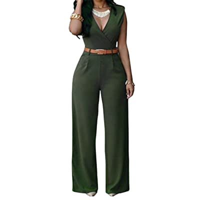Pandapang Womens Casual V-Neck Sleeveless Belted Wide Leg Romper Jumpsuits