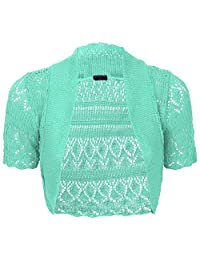 Girls Kids Short Sleeve Knitted Shrug Cardigan