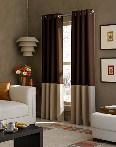Curtainworks Kendall Color Block Grommet Curtain Panel, 108 inch, Chocolate - Long Tailored Curtain Panel