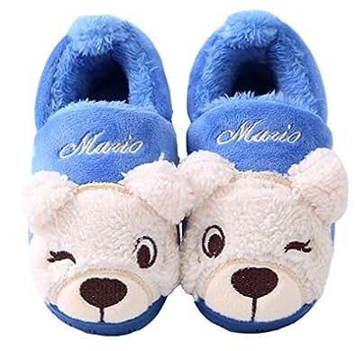 toddler little kid bear pattern bedroom slippers slip on slippers