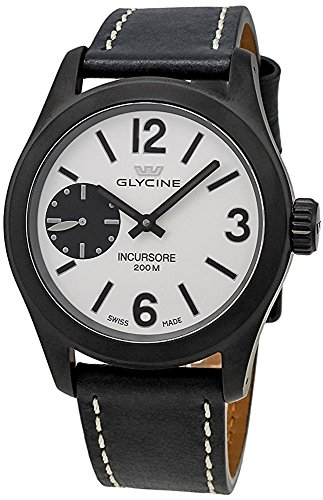 Glycine Incursore Black Pvd Coated Stainless Steel, Silver/black Dial, Black Leather Strap, Manual Winding - 3873.91 LB9B