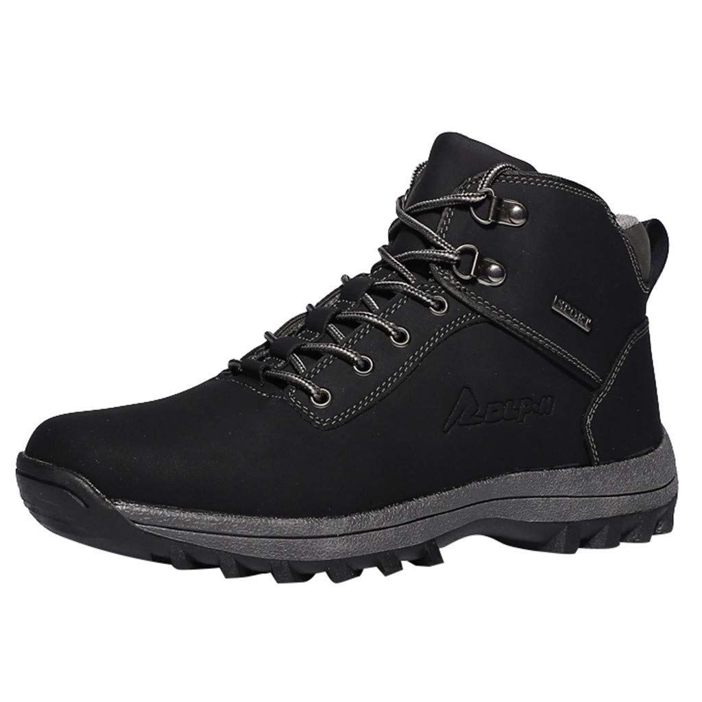 Men's Boots HOSOME Men Casual Shoes Boots Work Shoes Ankle Shoes Sneakers Climbing Hiking Shoes Black
