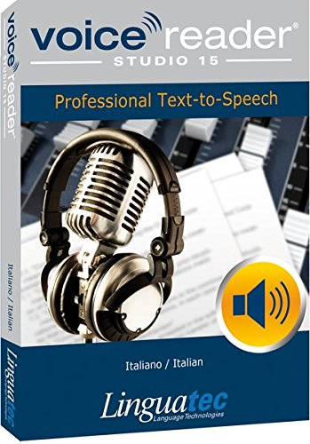 - Voice Reader Studio 15 Italiano / Italian - Professional Text-to-Speech Software (TTS) for Windows PC / Convert any text into audio / Natural sounding voices / Create high-quality audio files / Large variety of applications: E-learning; Enrichment of training documents or advertising material; Traffic announcements, Telephone information systems; Voice synthesis of documents; Creation of audio books; Support for individuals with sight disability or dyslexia / Pronunciation can be customized via user dictionaries / Cost-efficient alternative to recording studios / Available in 45 languages / Direct Integration in Microsoft® Word, Outlook and Power Point / Voice Reader Studio 15 Italian contains three female and one male voice. One of the female voices is a Multilanguage voice (ML), which has extended language abilities in English (UK), French, Spanish and German