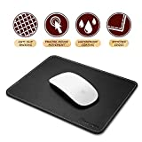 Insten Premium Synthetic Leather Mouse Pad with Waterproof Coating, Non Slip & Elegant Stitched Edges, Black