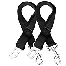 Bigear Dog Seat Belt, [2 Pack] Dog Harness Pet Car Vehicle Seatbelt Pet Safety Leash Leads for Dogs/Cats, Nylon Fabric Material, 20-30 Inch Adjustable - Black