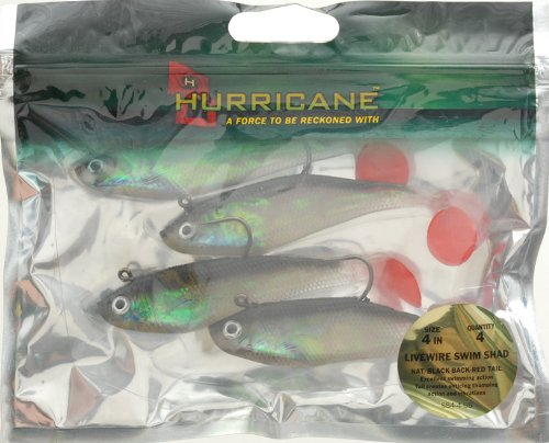 Hurricane Livewire Swim Shad (Pack of 4), 4-Inch, Natural/Black Back/Red Mouth (South Natural Bend)
