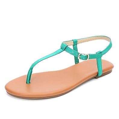 weiwei Damen Sommer Flache Sandalen Stilvolle Clip Toe Roman Einfach Strandsandalen