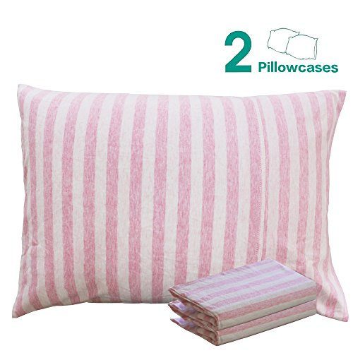 "NTBAY 100% Organic Cotton Toddler Pillowcases Set of 2, Soft and Breathable, 13""x 18"", Pink"