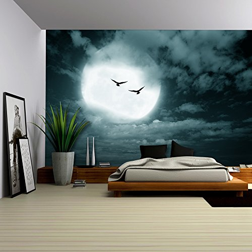 Halloween Background Full Moon and Sky Dark Style