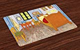 Ambesonne Art Place Mats Set of 4, Painting Style Room Interior with Bed Hanged Pictures Table and Chairs Near the Window, Washable Fabric Placemats for Dining Room Kitchen Table Decor, Multicolor
