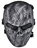 Aniwon Halloween Cosplay Mask Skeleton Mesh Tactical Wargame Full Face Mask (Silvery/black)