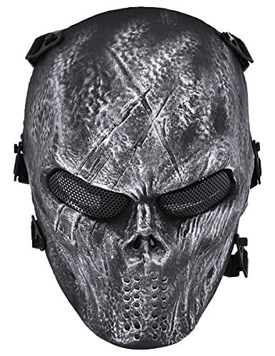 Coxeer Deluxe Overhead Skull Mask Outdoor Hunting Cs War Game Mask (Sliver) (Paintball Gun Mask compare prices)