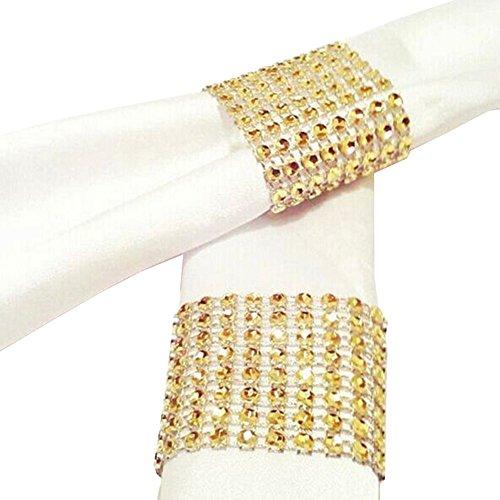 Pinzhi 10PCS Silver 8 Row Plastic Mesh Diamond Napkin Ring//Napkin Buckle