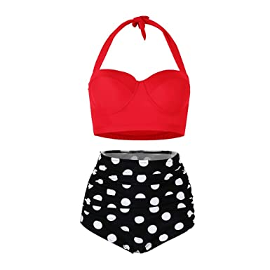 f198e8c2a67d5 Yooeen Women Vintage Swimsuits High Waisted Retro Polka Dot Bikini Set Bathing  Suits Two Piece: Amazon.co.uk: Clothing