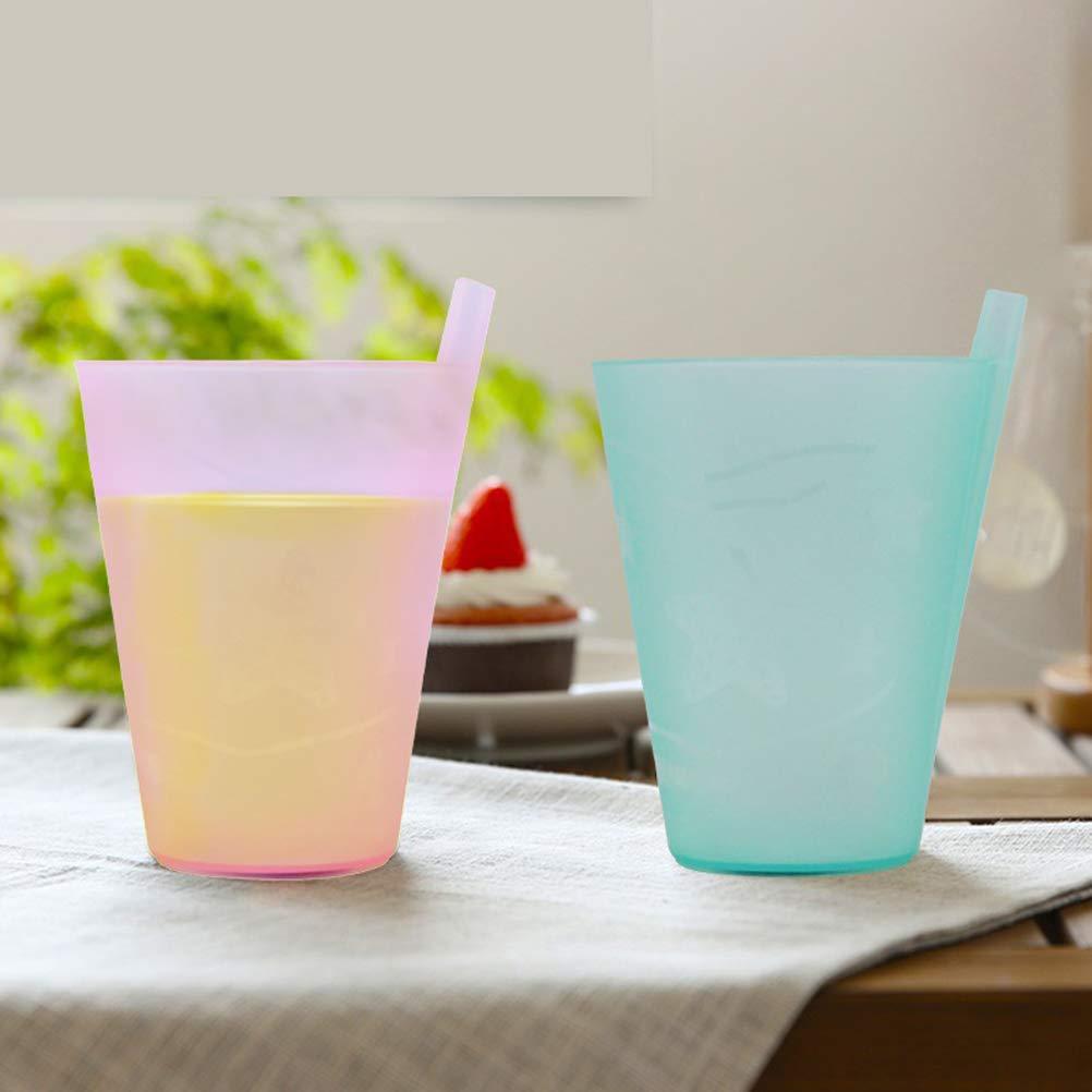301-400 ml Colores Mezclados BESTonZON 5pcs Sippy Juice Cup Tazas de Agua pl/ásticas para Beber con Pajita incorporada para ni/ños