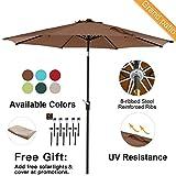 Cheap Grand patio 9FT, 8 Ribs Aluminum Patio Umbrella with Auto Crank and Push Button Tilt, UV Protective Beach Umbrella, Powder Coated Outdoor Umbrella, Brown