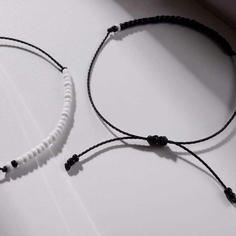 BOCHOI Pinky Promise Distance Matching String Friendship Bracelets 2PCS for Couples Teen Girls Mother Daughter Women Best Friend