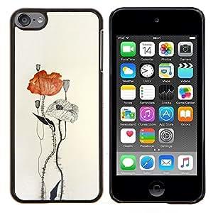Dragon Case - FOR Apple iPod Touch 6 6th Generation - poppy flower paper watercolor art - Caja protectora de pl??stico duro de la cubierta Dise?¡Ào Slim Fit