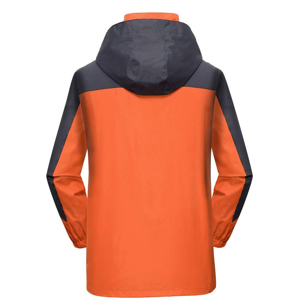 Softshell Manteau a Capuche Homme Imperméable Jacket de Plein Air Coupe Vent Épais Respirante Veste Pluie pour Outdoor Randonnée Zippe Coat Orange