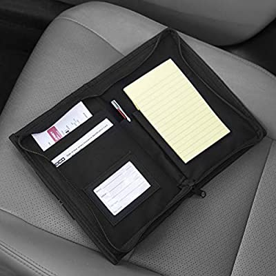 lebogner Glove Box Compartment Car Accessories Organizer, Multipurpose Soft Zippered Pouch Registration, Insurance and Document Holder, Vehicle Owner Manual Wallet Center Console Storage Case, Black: Automotive