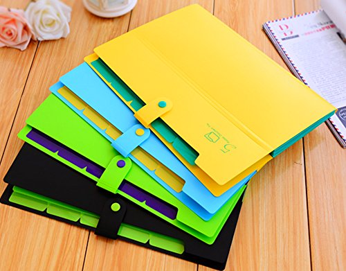 KOBEST Pack of 4 colors Pocket document file Poly Expanding A4 and Letter Size File Organizer, 5 Pockets, stylish colorful and very lightweight