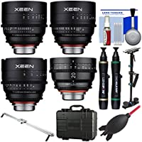 Rokinon Xeen 20mm T/1.9, 24mm, 50mm, & 85mm T/1.5 Pro Cine Lens Bundle (for Video DSLR Canon EF) with Waterproof Hard Case + Camera Slider + Stabilizer + Kit