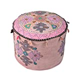 Colorfull Ottoman Pink Cotton Floral Patch Work Pouf Cover By Rajrang