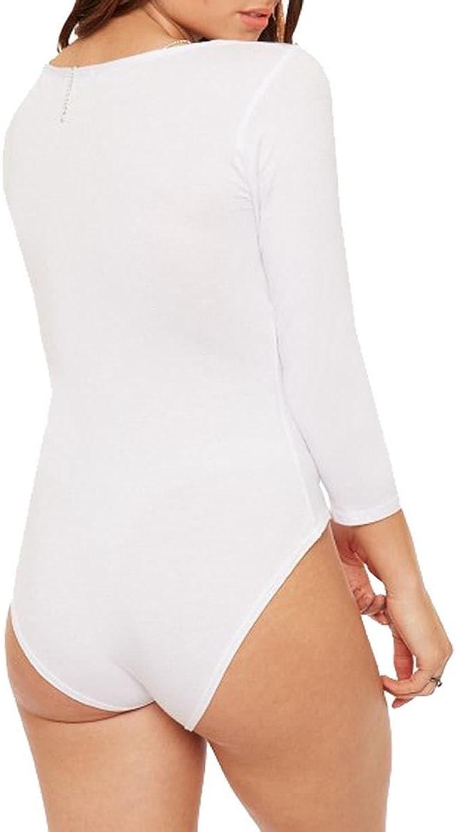 The Celebrity Fashion Women Long Sleeve Plain Criss Cross Cage Strap Neck Detail Bodysuit Leotard