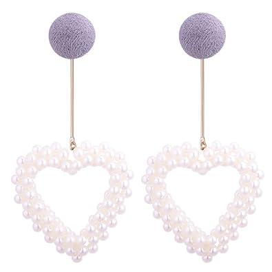 956cdd6f4 Aibei Sweet pearl hollow Love shape button pierced stud Earrings Pearl  Earrings For Women (Grey