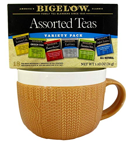 Knitter Gift Bundle - 2 Items Jumbo Ceramic Sweater Mug and Box of Bigelow Tea (Beige Mug - Assorted Teas)