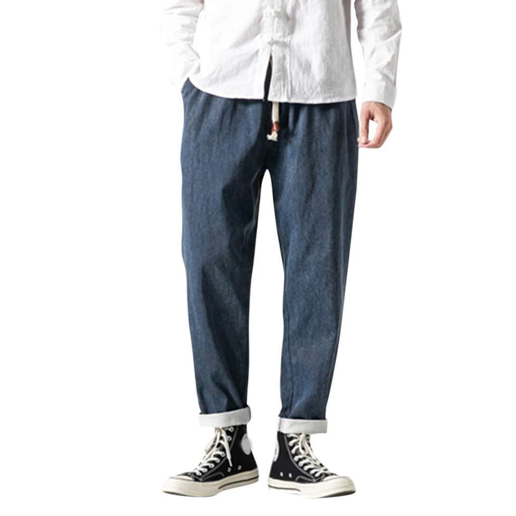 Men's Drawstring Back Elastic Waistband Cabana Linen Pant Blue