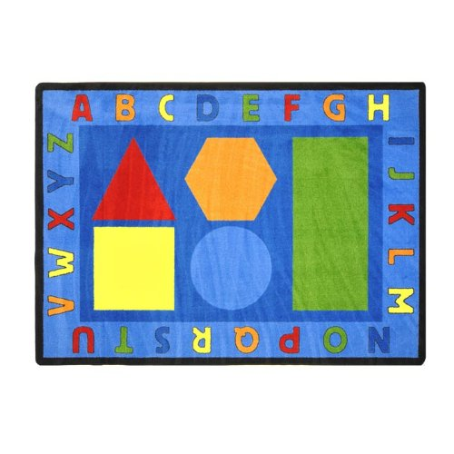 Joy Carpets Kid Essentials Early Childhood Alphabet Shapes Rug, Multicolored, 5'4