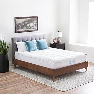 LUCID Plush Down Alternative Fiber Bed Topper - Allergen Free - Full