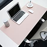 BUBM Multifunctional Office Desk Pad,35.4x17.7 inch Ultra Thin Waterproof PU Leather Mouse Pad/Mat, Dual Use Desk Writing Mat for Office/Home (Pink)
