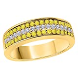 DreamJewels 6MM 14K Yellow Gold FN Alloy 0.50CT Yellow Sapphire & White Cz Diamond Ring 3 Row Pave Men's Hip Hop Anniversary Wedding Band Ring Size All Available