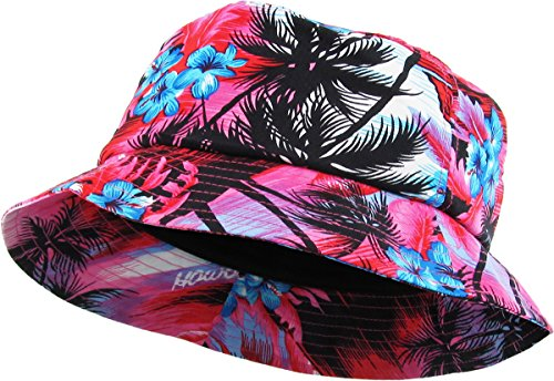 KBETHOS KBM-027 HPK Hawaiian Floral Print Bucket Hat Cap Adult Bucket Hat