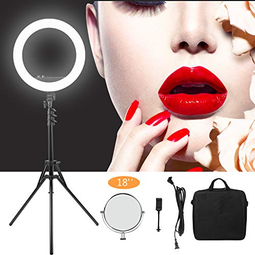"MANTOO 18"" LED Ring Light Adjustable Color Temperature 3200-5600K Warm to Cold Color with Phone Holder for Camera"
