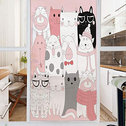 Decorative Window Film,No Glue Frosted Privacy Film,Stained Glass Door Film,Cute Cartoon Kittens Collection Funny Smiling Glasses Scarfs Doodle Humor,for Home & Office,23.6In. by 59In Light Pink White