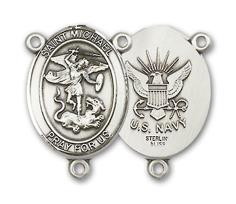 Sterling Silver US Navy St Michael the Archangel Patron Saint Rosary Centerpiece by Bliss Manufacturing