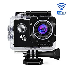 APEMAN 4K Action Camera Waterproof Cam DV Camcorder Ultra 170º Wide-Angel lens with Wi-Fi 2 Inch LCD Display - 2 Pcs Rechargeable Batterieis and Portable Package include Full Accessories Kits