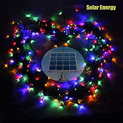 LED String Light - Autbye Newest Design 200 LED Solar & AA Dry Battery 2 Ways-powered Starry Lighting 72ft 22m 200 LED 8 Modes Multi Color Christmas Waterproof Fairy String Lights