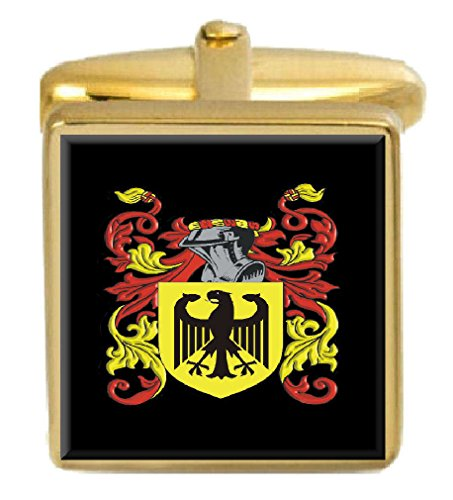 Select Gifts Pitcher England Family Crest Surname Coat Of Arms Gold Cufflinks Engraved Box