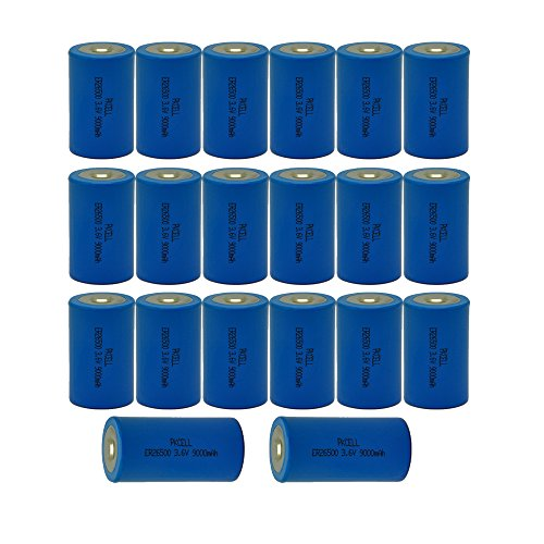 C Size 3.6V ER26500 9000mAh Primary Lithium Thionyl Chloride Batteries 20Pcs by PK Cell